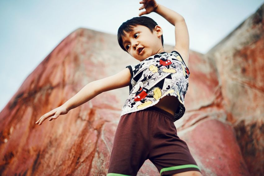 freestyling pose Kidsphotography Kids Being Kids Kids EyeEmNewHere Playing Child Childhood Portrait Rock Music Attitude Looking At Camera Standing Individuality Rock - Object Girls Skateboard Park Sports Ramp Stunt Rock Climbing