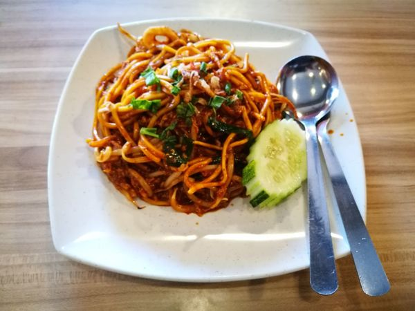 fried noodles Mee Mee Goreng Mee Goreng Mamak Fried Noodles Fried Mee Cucumber Fork Spoon Fork And Spoon Seafoods Seafood Market Stall Asian Food Malaysia Comfort Food Italian Food Plate Garnish Fork Table Close-up Food And Drink Spaghetti Meatball Pasta Minced Tomato Sauce Noodles Basil Ground Beef