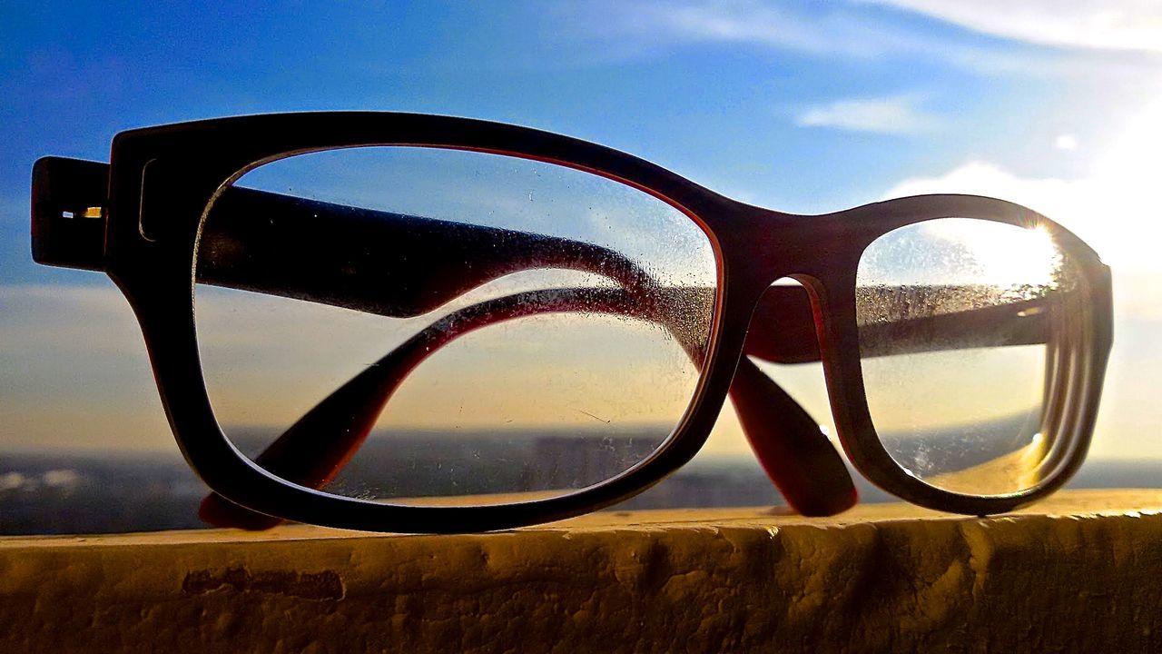 sunglasses, eyeglasses, eyewear, sky, eyesight, vision, reflection, no people, close-up, day, glasses, outdoors, nature, landscape