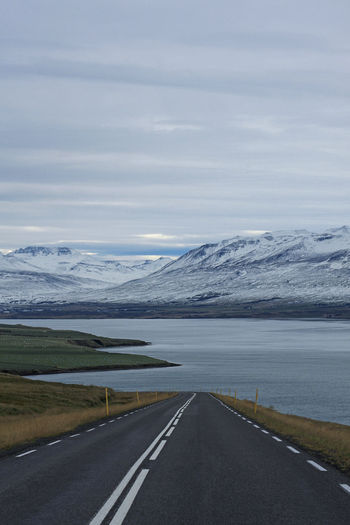 Open Road Beauty In Nature Cloud - Sky Day Iceland Landscape Mountain Mountains No People Open Road Outdoors Road Scenics Sea Sky Snow
