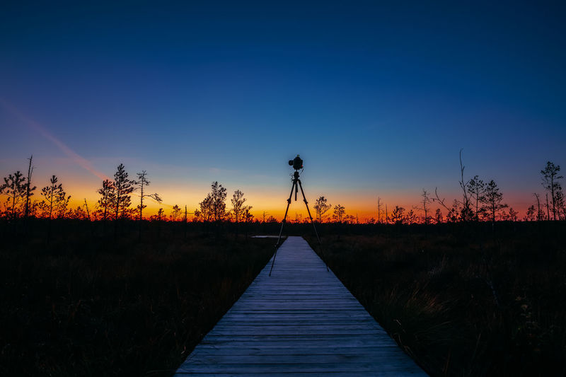 Autumn Sunrise Landscape With Marsh During Sunset. Camera On A Tripod Stands On A Eco Wooden Board Boarding Path Way Trail Path Way Walkway. Dark Trees Silhouettes Against A Colorful Sunset Sky. Nature Belarus Beauty In Nature Autumn Sky Sunset Direction Blue Tranquility Clear Sky No People Tranquil Scene Copy Space Scenics - Nature Outdoors Environment Sunrise Camera Camera - Photographic Equipment Tripod Hobby Board Sillouette My Best Photo