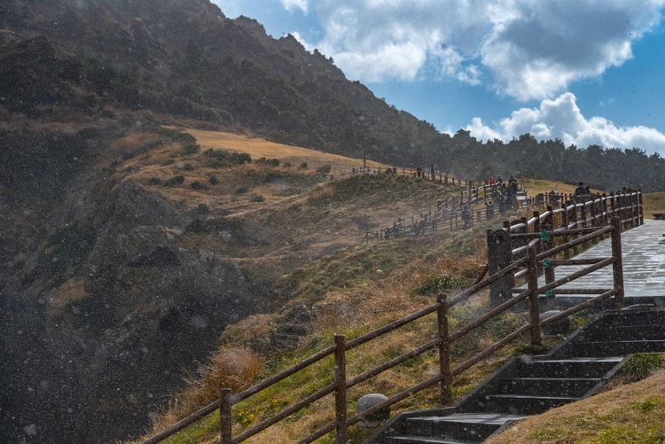 Railing Mountain Day Outdoors Scenics Landscape No People Nature Beauty In Nature Sky Hand Rail