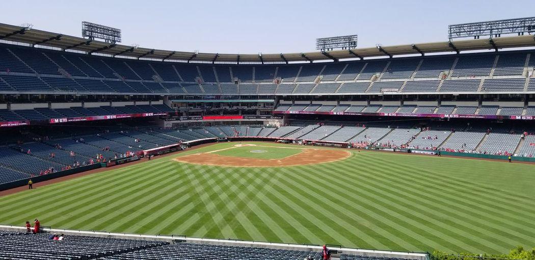 View of empty stadium pre game antics...