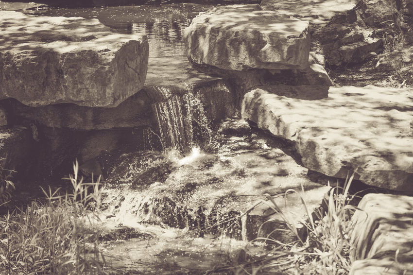 Beauty In Nature Black & White Black And White Flowing Water Grass Nature Rocks Water Waterfall