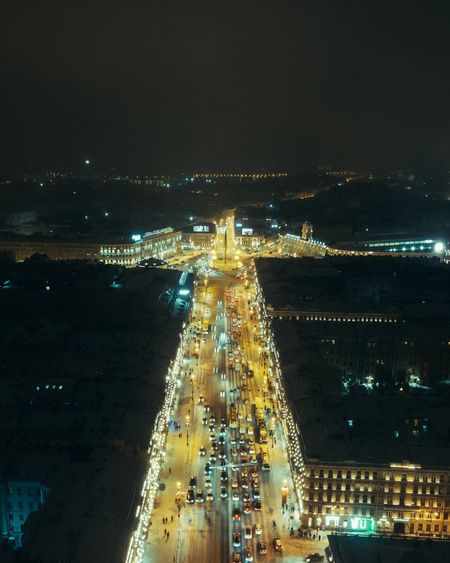 Saint-Petersburg Illuminated Architecture Night City Building Exterior Built Structure Water Cityscape Sky High Angle View Building Transportation Modern