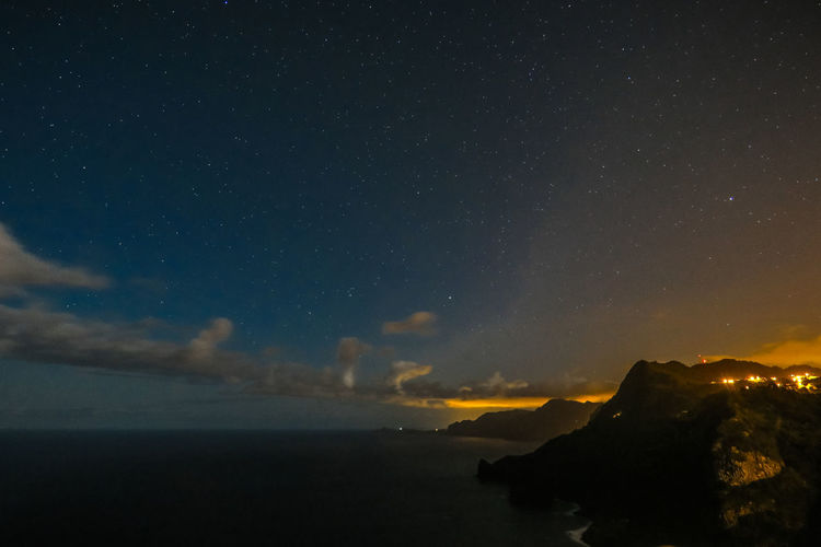Scenic view of atlantic ocean against starry sky at night