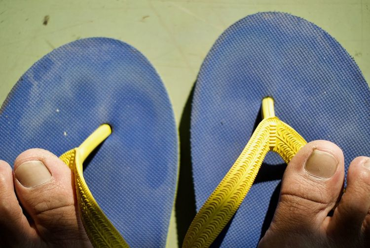 Low Section Of Man With Flip-Flop