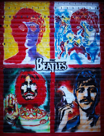 Art Celebrities Design Draw Founders Four George Harrison Graffiti Idols John Lennon Legends Liverpool Moscow Musicians Paint Paul Mccartney Portraits Ringo Starr Rock Russia Street The Beatles Urban Vote Wall