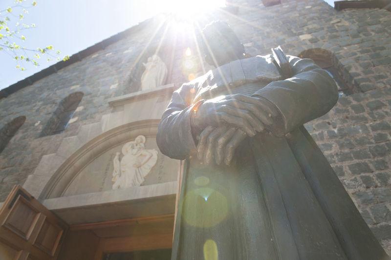 "Statue in ""La Maternidad de Maria"" Chapel - Santiago - Chile Chile La Maternidad De Maria Statue Lens Flare Place Of Worship San Cristobal San Cristobal Hill Sanctuary  Santiago Spirituality Statue Sunbeam"