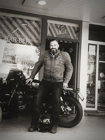 the 3 b's : the barbershop, the beard and the bike Cafe Racer Barbershop Beard Me Motorcycle Occupation Arts Culture And Entertainment Communication Mechanic Technology