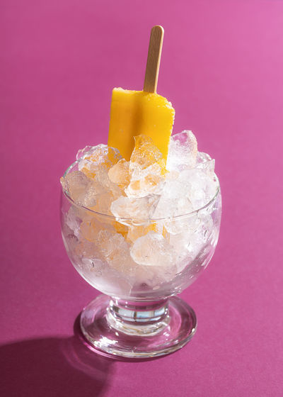 Close-up of ice cream glass