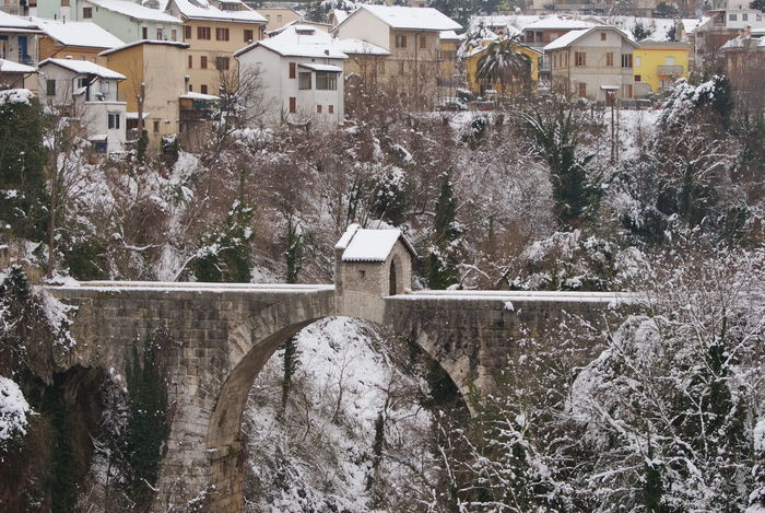 It's Cold Outside Cold Cold Winter ❄⛄ Cold Temperature Winter Winter Wonderland Winter Season Winter Season ❄⛄ Cold Day Cold Snow Snow ❄ Ascoli Piceno Ascolipiceno Bridge Malatesta Fortress Marche Region Italy Italy❤️ Europe View Winter View Houses Cityscape