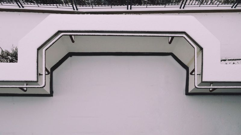 Cold Temperature White White Album Snow Snow Covered Winter Minimal Steps And Staircases Spiral Steps Staircase High Angle View Railing Architecture Built Structure Directly Below Architectural Detail Ceiling Weather Condition Cold