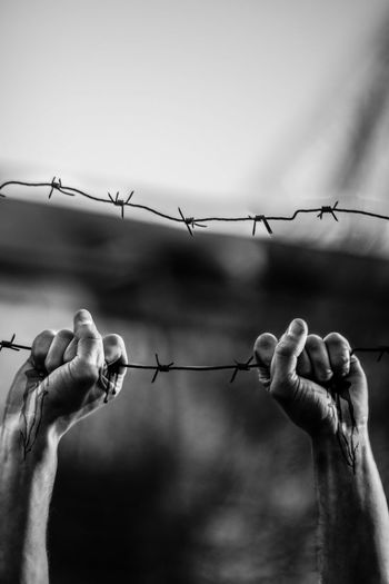 EyeEm Selects Fence Hand Wire Boundary Human Hand Barbed Wire Sky Human Body Part Outdoors Day Finger
