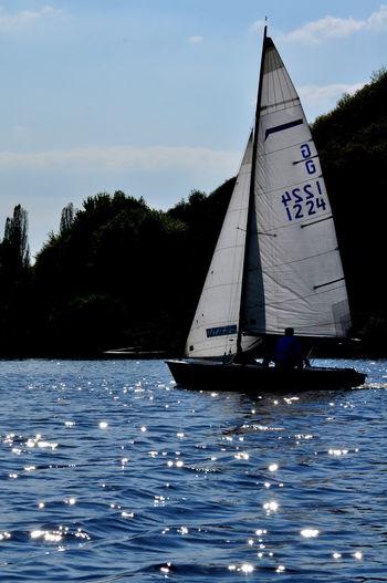 Boat sailing in river