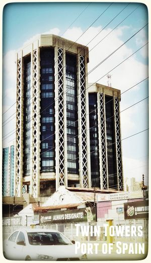 While in traffic I took this picture. The Financial Center or Twin Towers in Port of Spain. Taking Photos Enjoying The Sights Nice Building Hello World Port Of Spain
