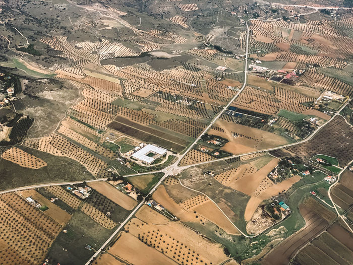 High angle view of roads and cultivated land