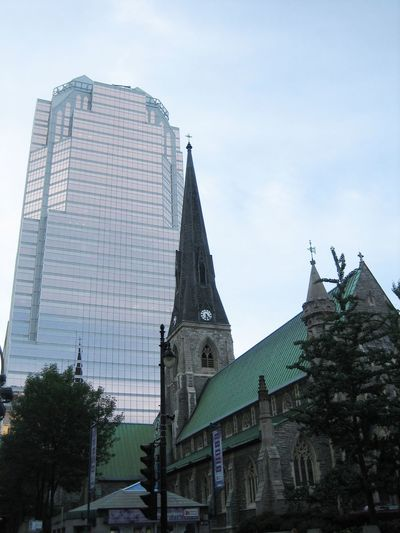 Incredible combination of different churches and modern skyscraper is really amazing in Montreal. Architectural Style Church Tower Architecture Church Montréal Montreal, Canada Spirituality Religion Travel Destinations Glass Building Traveling Travel Photography Church Towers Church Today  TakeoverContrast Embrace Urban Life