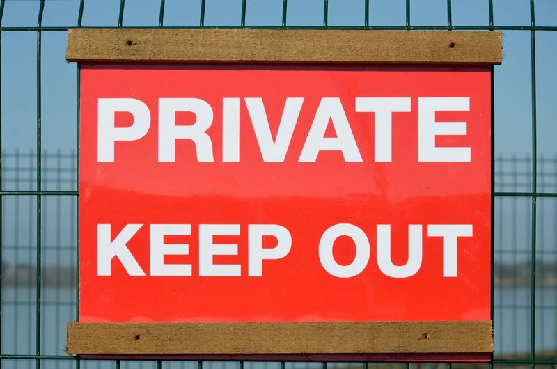 Private keep out sign Text Western Script Communication Sign Fence Keep Out Private Keep Out Wire Outdoor Red Capital Letter Information Security