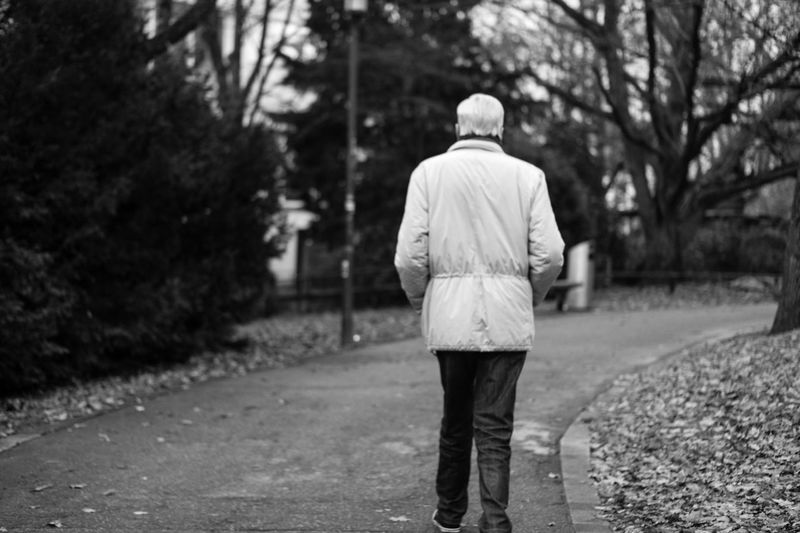 The wise man Adult Alone Blackandwhite Bühl Calm Camera Day Full Length Germany Leisure Activity Men Nature Old Man One Man Only One Person Outdoors People Real People Rear View Road Samsungphotography Tree