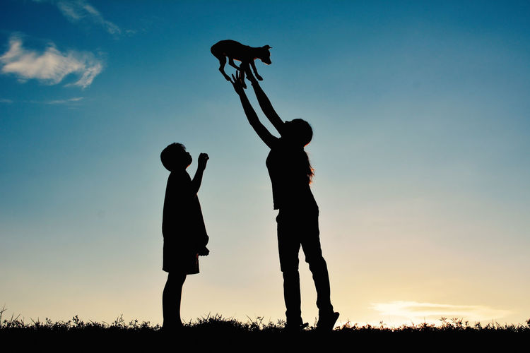 Boys Dog Family Mother Silhouette Standing Sunset