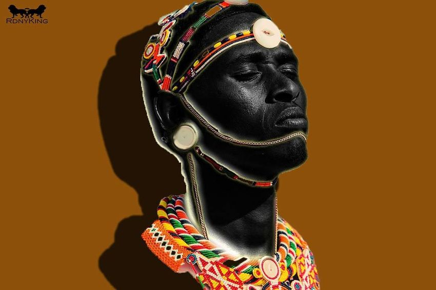 enjoy and embrace the sun like its your god EyeEmNewHere Massai AFRICAN CULTURE Dreaming Human Face Jewelry Black Purpose Close-up Colored Background Multi Colored