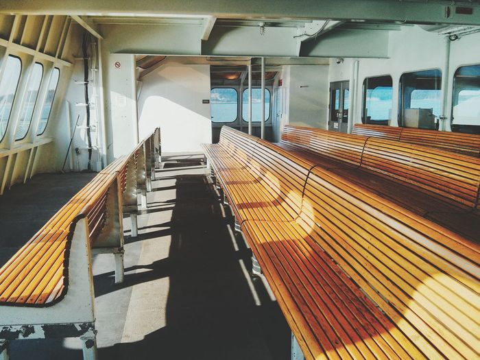 Ship Interior With Wooden Benches