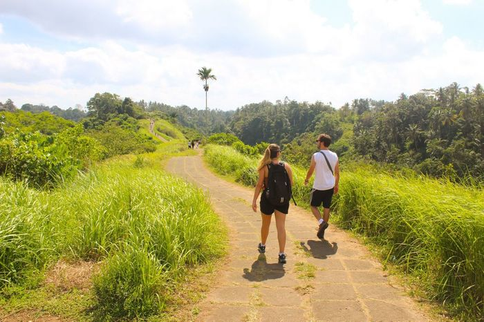 Connected By Travel INDONESIA Walking Togetherness Full Length Nature Real People Sky Casual Clothing Rear View New People New People New Stories Backpackers Leisure Activity Lifestyles Day Tree Two People Beauty In Nature Plant Landscape Growth Men Bonding Lost In The Landscape