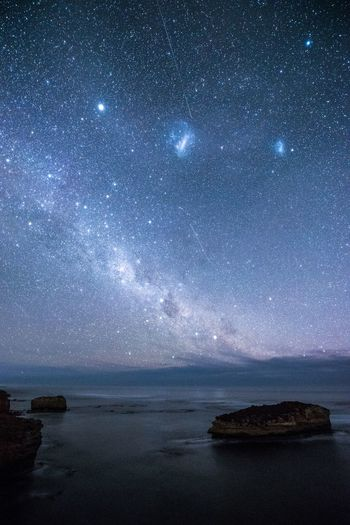 Stars Melbourne Night Water Star - Space Astronomy Sky Space Scenics - Nature Beauty In Nature Galaxy Sea Tranquility Tranquil Scene Star Field Star Milky Way Land Rock Nature