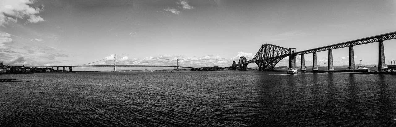 Th Forth bridges as seen fro South Queensferry. Black And White Bridges Estuary Firth Of Forth Forth Railway Bridge Forth Road Bridge Landscape Monochrome River Scotland