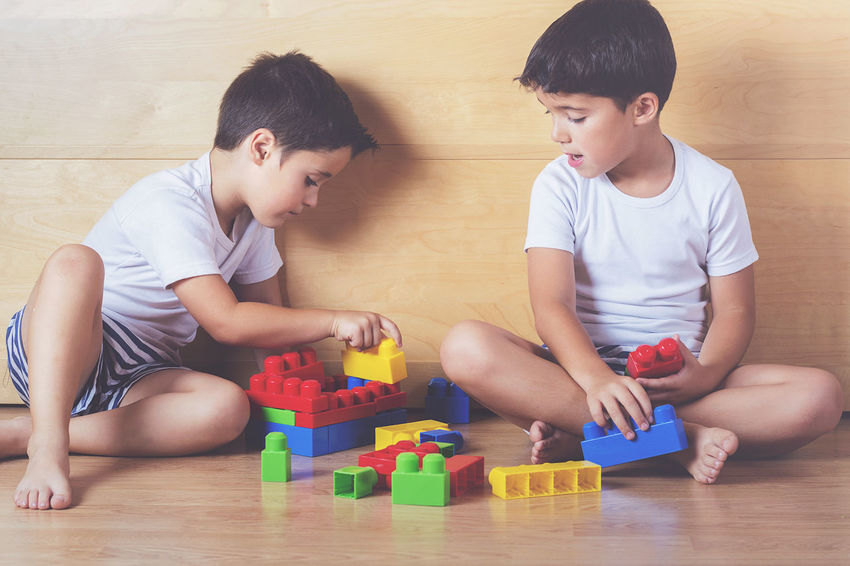 Blocks Children Colors Friends Fun Funny Happiness Imaginative Activity Boys Brothers Child Childhood Family Friendship Happy, Home Interior Innocence Playing Sibling Sitting Toy Toy Block Twins