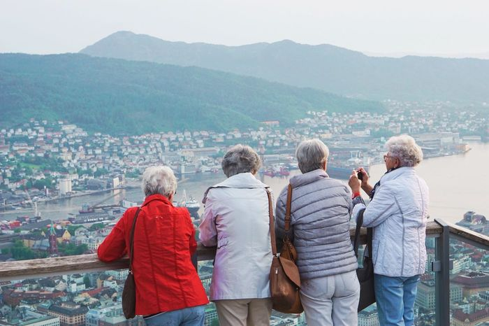 Connected By Travel EyeEm Selects A photograph of 4 elder women travel to see the view from the top together Mountain Senior Women Togetherness Women Elderly Friendship Old True Friends Love Travel Limitless Ages  4 People Winter Cold Granny Outdoor Top View Moment Lives Living Connection Norway