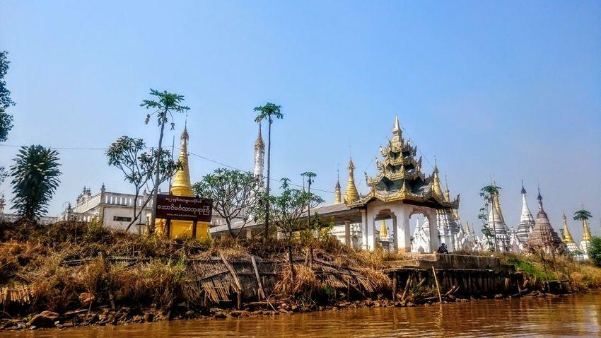 The Great Outdoors - 2016 EyeEm Awards Myanmar Inle Lake Shan State Burma Birma Buddhist Temple Stupa Golden Roof Palm Trees Water Original Experiences Feel The Journey