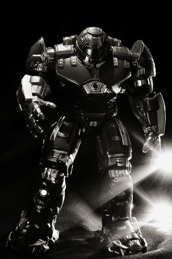 Robot Body Suit Suit Iron Ironman Hulkbuster Headwear Black Background Men Army Helmet Studio Shot Close-up Robotic Arm