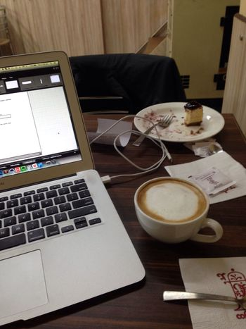 Working late from a coffee shop Hustling Getshitdone