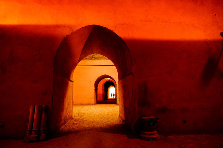 Heri Es-Souani Granary Meknès Morocco Orange Travel Arch Architectural Column Architecture Archway Corridor Historic History Indoors  Old Granary Royal Stables The Way Forward Tourism Travel Destinations Tunnel