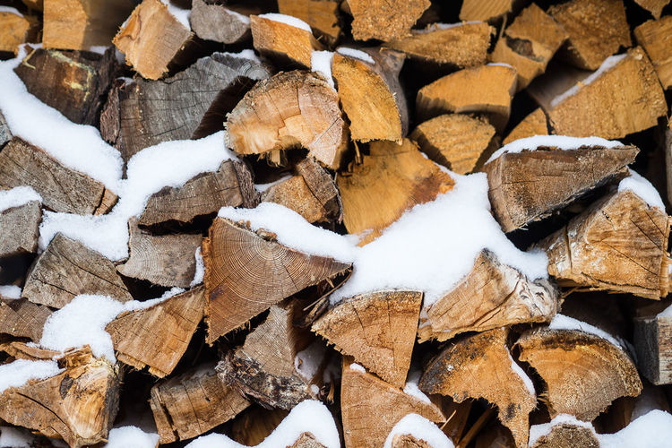 Wood and Snow Backgrounds Brown Firewood Large Group Of Objects Lumber Industry Textured  Timber Wood - Material