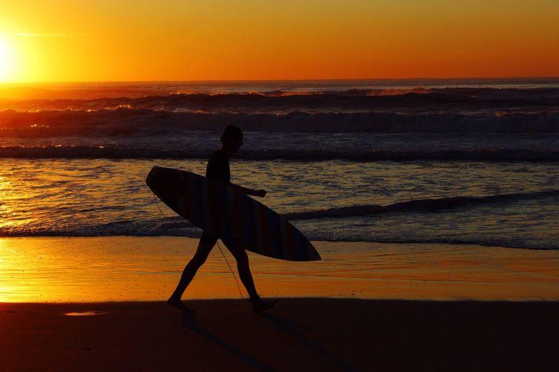 Sunrise Morning Surfer Beach Earlybird Durban South Africa