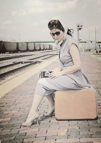 Long Goodbye Pinup Vintage People Train Uniqueness Peoplephotography Springtime Portrait Goodbye Robbieedwardsphotography Creativity Photography