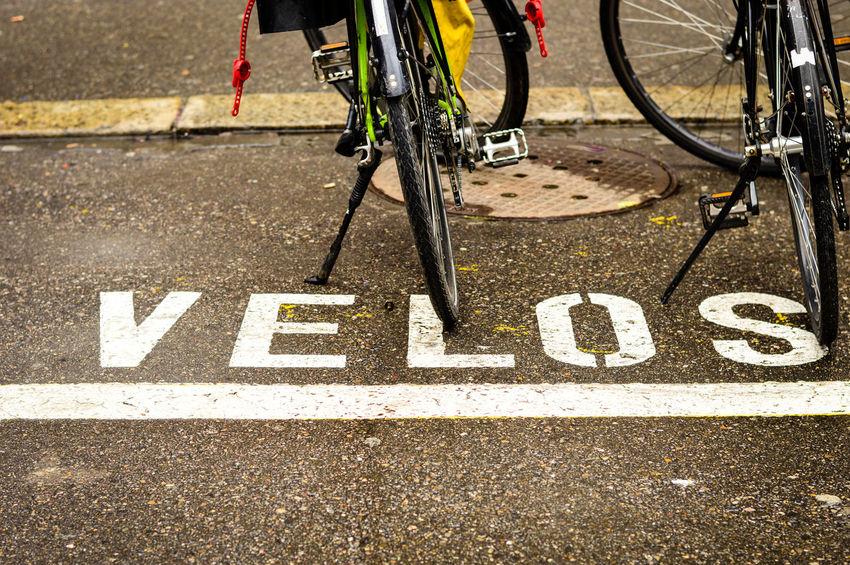 Velos...quite noble ;-) Looking Down Sign Bicycle Bike Close-up Communication Communication Sign Concrete Concrete Floor Day Low Section No People Outdoors Transportation Velocity Velos
