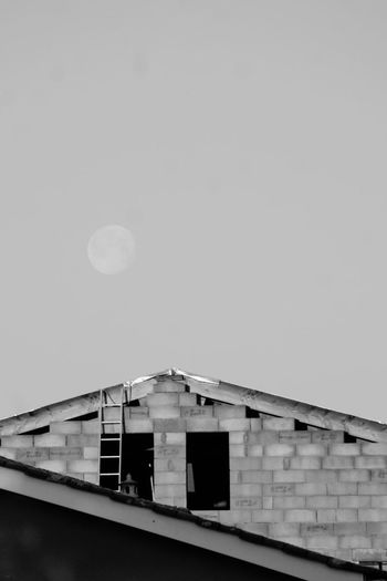 Ladder EyeEm Selects Moon Built Structure Architecture Low Angle View Building Exterior No People Clear Sky Outdoors Sky Astronomy Day Nature