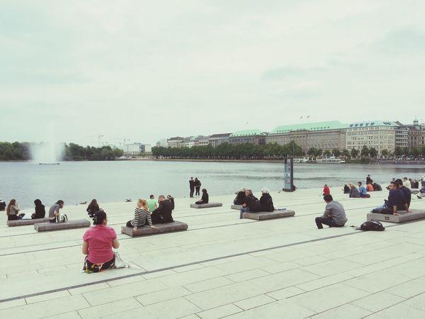 People Watching Enjoying The Sun Walking Around Sunbathing Relaxing Summer Water Lake Ocean Ocean View