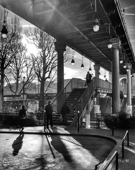 Railroad Station Transportation Real People People Architecture Public Transportation Black And White People Photography Shadows & Lights Paris, France  Architecture Paris People Of EyeEm Blackandwhite Malephotographerofthemonth Capture The Moment Samsung Galaxy S7 From My Point Of View Pont De Bir-hakeim Black And White Collection  City Below Bridge - Man Made Structure Streetphotography Streetphoto_bw Welcome To Black