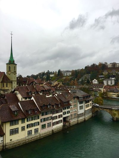 Bern, Switzerland City View  Autumn🍁🍁🍁 Cloud And Sky Traveling Photography Traveling Landscape_photography Landscape Architecture Street Photography Switzerland❤️ Autumn Collection River View