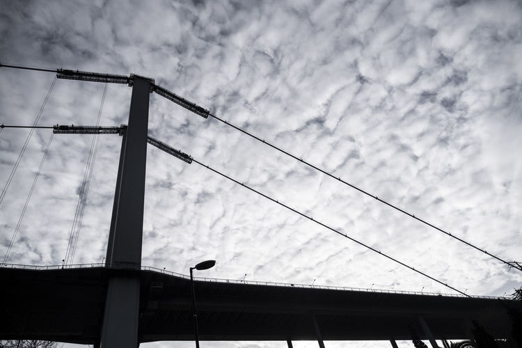 Cloud - Sky Low Angle View Sky Cable Architecture No People Built Structure Nature Day Connection Electricity  Outdoors Power Line  Technology Building Exterior Overcast Lighting Equipment Metal Construction Industry Power Supply Bridge Bosphorus Bridge Bosphorus