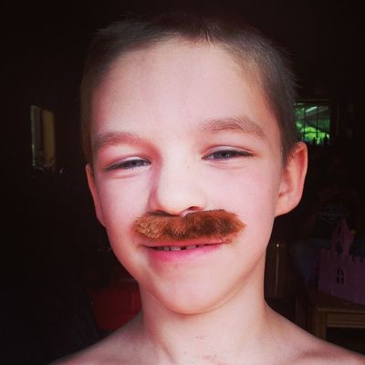 My brother Spencer wearing a mustache!