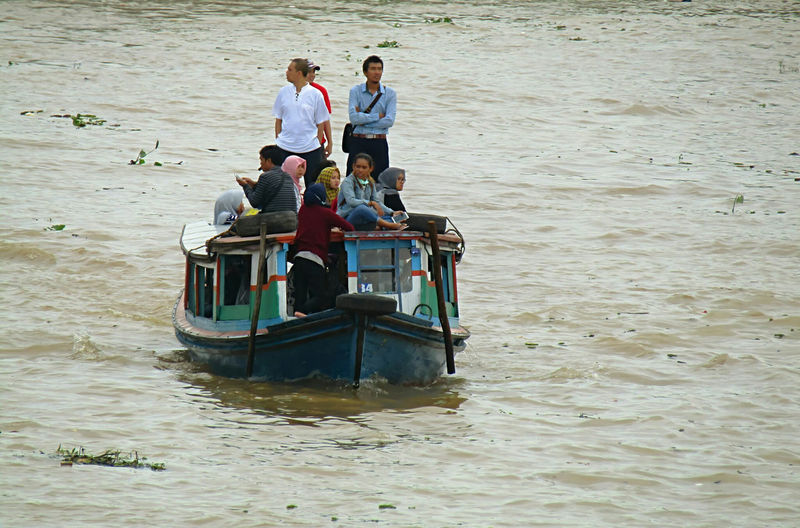High angle view of people on boat