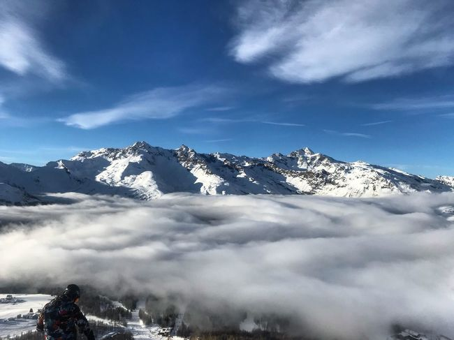 Sky Cloud - Sky Mountain Winter Beauty In Nature Landscape Cold Temperature Snow Day Weather Tranquil Scene Tranquility Outdoors Adventure People One Person Mountain Range Real People