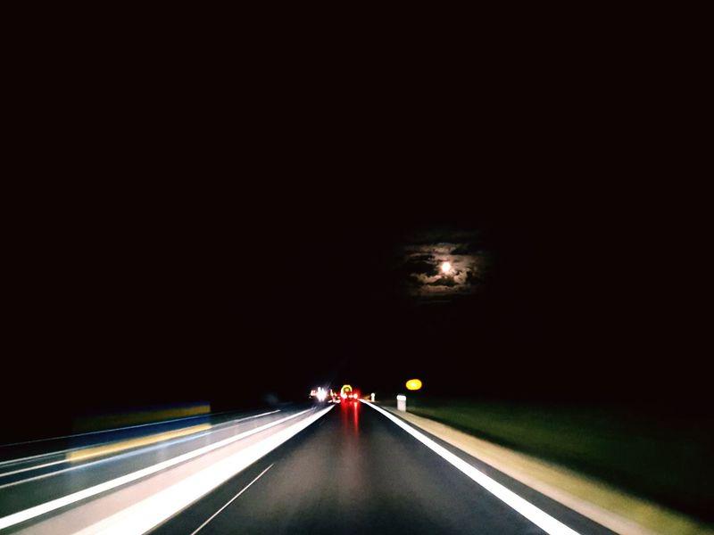 Speed Illuminated Car Audi ♡ No People Driving Traffic Highway Night Road Sky Full Moon