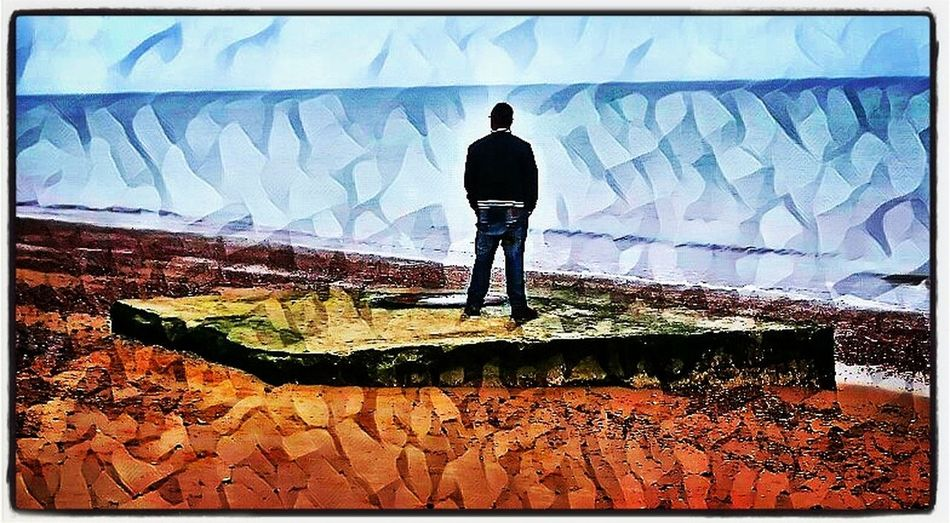 Me again Sky Outdoors Standing One Person Photoart Photographyart Creative Creativephotography Picsart Creativephoto Landscape Naturesbeauty Beachfront Horizon Solitude Tranquil Scenic Skyline Me, My Camera And I Mobilephotography Silence Solitude And Silence TranquilityBeauty In Nature Horizon Over Water